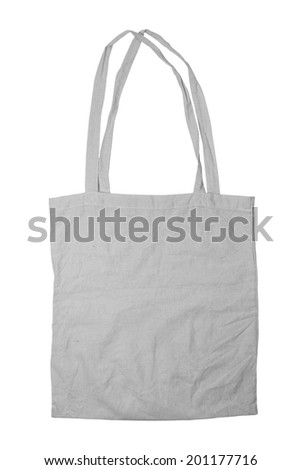 Fabric tote isolated on white background - stock photo