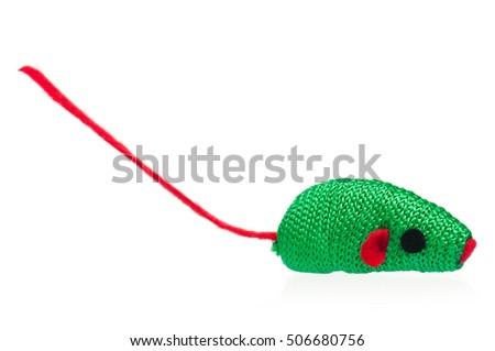 Fabric toy mouse for little kitten isolated on white background