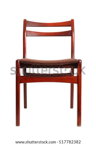 Fabric upholstered retro wooden chair. Isolated with clipping path.