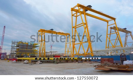 Fabrication yard for new oil and gas building process installation. - stock photo