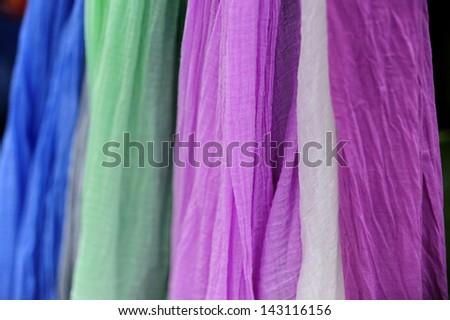 fabrics of colors - stock photo