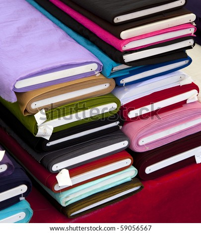 fabrics on the market - stock photo
