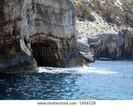 fabulous blue caves at an island in Greece - stock photo