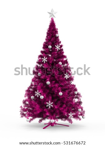 Fabulous Christmas tree with pink ornaments on it isolated on white background. 3D Rendering, Illustration.