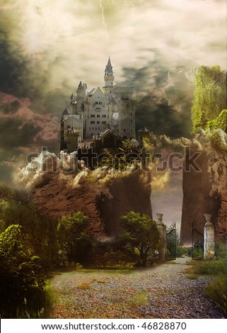 Fabulous landscape with castle and way through an opened iron gate. - stock photo