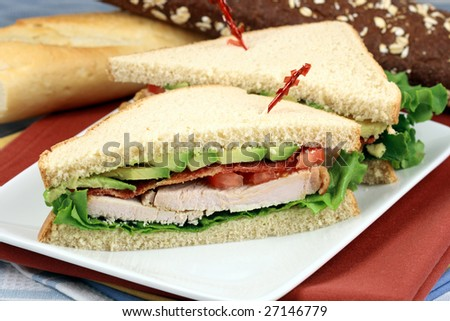 Fabulous turkey sandwich made with oven roasted turkey breast and organic vegetables