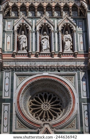 Facade detail of Basilica di Santa Maria del Fiore - famous cathedral church of Florence in Italy  - stock photo
