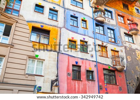 Facade fragment of Hundertwasser house in Vienna, Austria. One of the most popular city landmark
