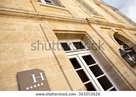 Facade of a five stars hotel in France