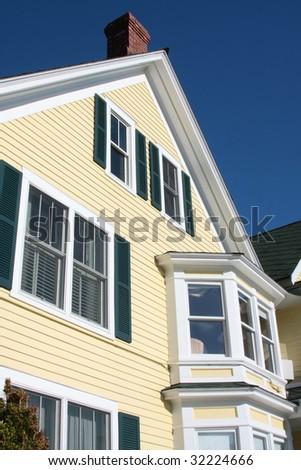Facade of a house in America. - stock photo