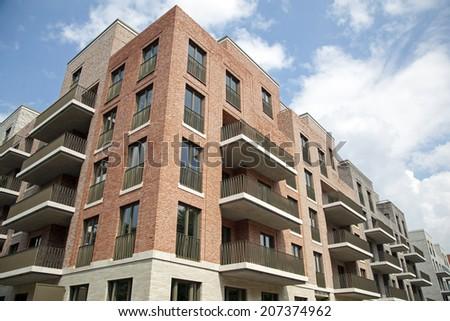 Modern Apartment Building Facade facade modern apartment building frankfurt germany stock photo