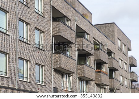 Facade of a modern apartment building in Hamburg, Germany - stock photo