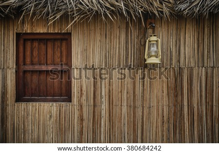 Facade of a traditional arabian home made with palm leaves. - stock photo