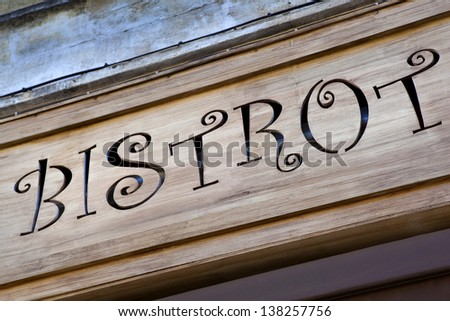 Facade of an old bistro in France - stock photo