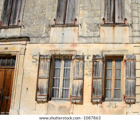 Facade of an old building in France