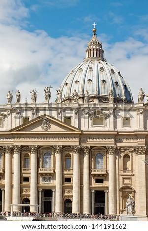 Facade of basilica of Saint Peter, Vatican, Rome - stock photo