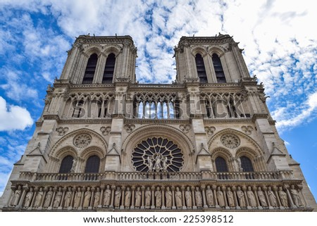 Facade of Cathedral Notre Dame in Paris, at summer day on blue sky background
