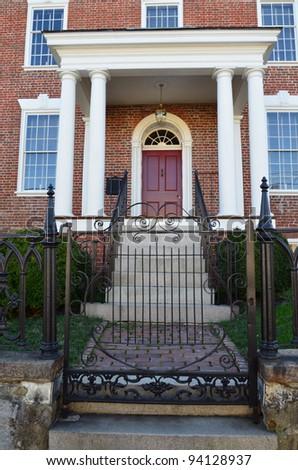 facade of colonial home - stock photo