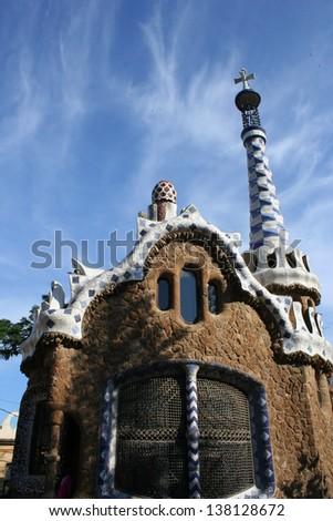 Facade of Gaudi Architecture in Barcelona - stock photo