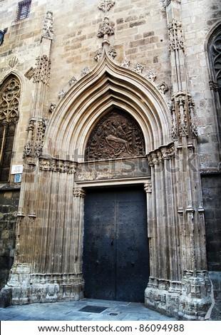 Facade of gothic cathedral Santa Maria del mar in Barcelona, Spain - stock photo