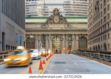 Facade of Grand Central Terminal  in New York, USA with a yellow cap - stock photo