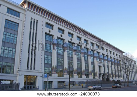 Facade of Greater London House (formerly cigarette factory) in Camden, London, England