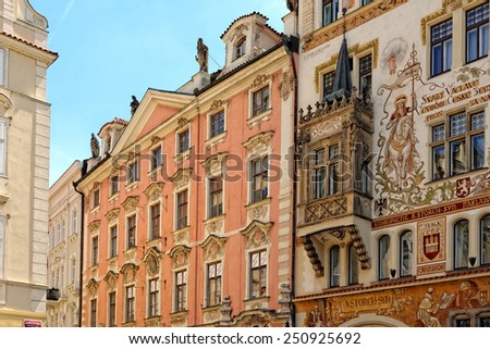 Facade of historic buildings in the Old Town Square in Prague, Czech Republic. - stock photo