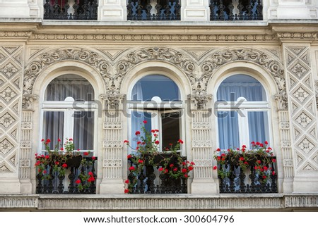 Facade of  house with balcony in Montmartre. Paris, France  - stock photo
