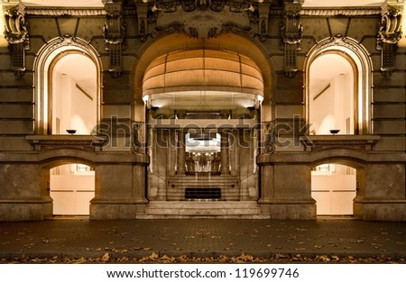 Facade of luxury shop in Barcelona at night - stock photo