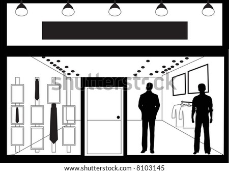 facade of men's clothing store - stock photo