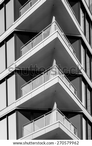 facade of modern buildings with  lots of balcony - stock photo