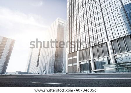 facade of modern office building - stock photo