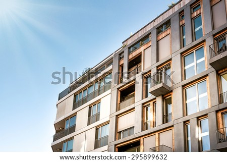 facade of modern residential house - stock photo
