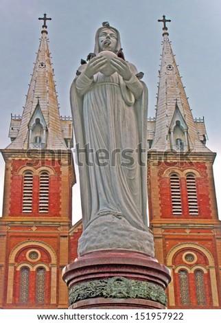 Facade of Notre Dame church in Saigon, Ho Chi Minh City, Vietnam - stock photo