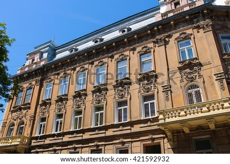 Facade of old building in the historical city centre. Lviv, Ukraine - stock photo