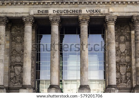 Facade of old Reichstag building in Berlin, Germany