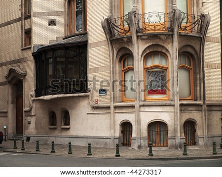 Facade of one of the Brussels buildings in Art Nouveau style