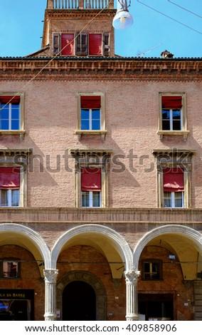 Facade of Renaissance building in Bologna downtown - stock photo