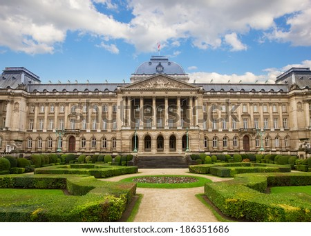 Facade of  Royal Palace in Brussels , Belgium - stock photo
