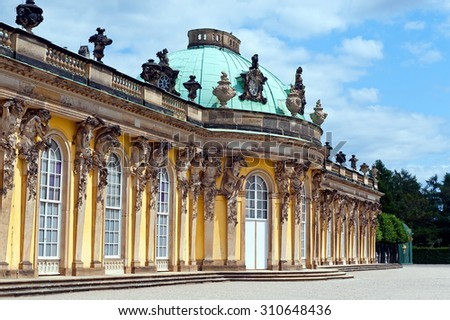 facade of Sanssouci Palace in Potsdam, Germany.