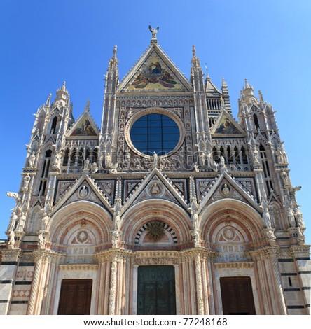 Facade of Siena dome (Duomo di Siena), Italy - stock photo