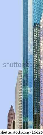 facade of skyscraper in downtown Houston - stock photo