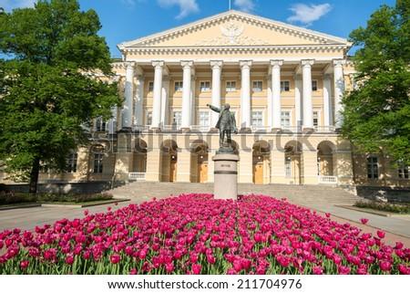 Facade of Smolny institute, Saint Petersburg, Russia - stock photo