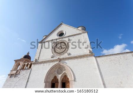 Facade of the Basilica of San Francesco, Assisi, Perugia, Umbria - stock photo
