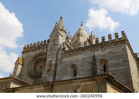 Facade of the Cathedral of Evora, Portugal - stock photo