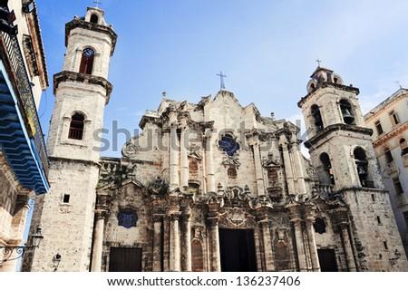 Facade of the Cathedral of Havana, Cuba - stock photo