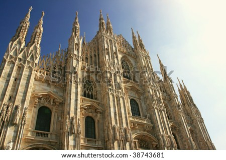 Facade of the Duomo, the cathedral of milan, Italy - stock photo