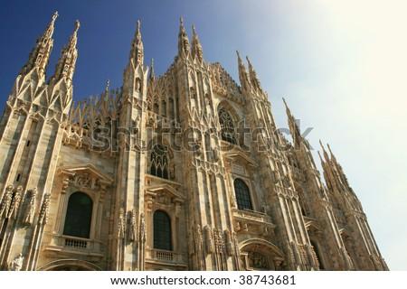 Facade of the Duomo, the cathedral of milan, Italy - stock photo