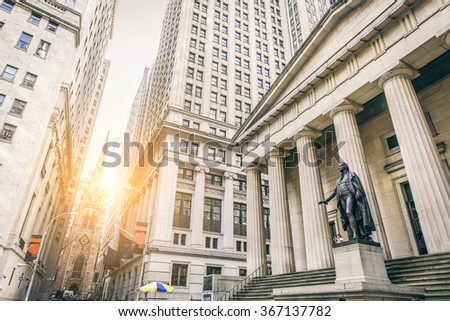 Facade of the Federal Hall with Washington Statue on the front, wall street, Manhattan, New York City - stock photo