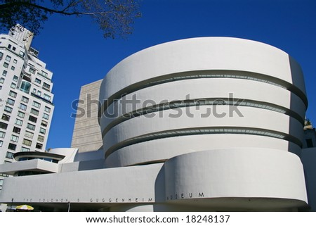 Facade of the Guggenheim Museum in New York City - stock photo